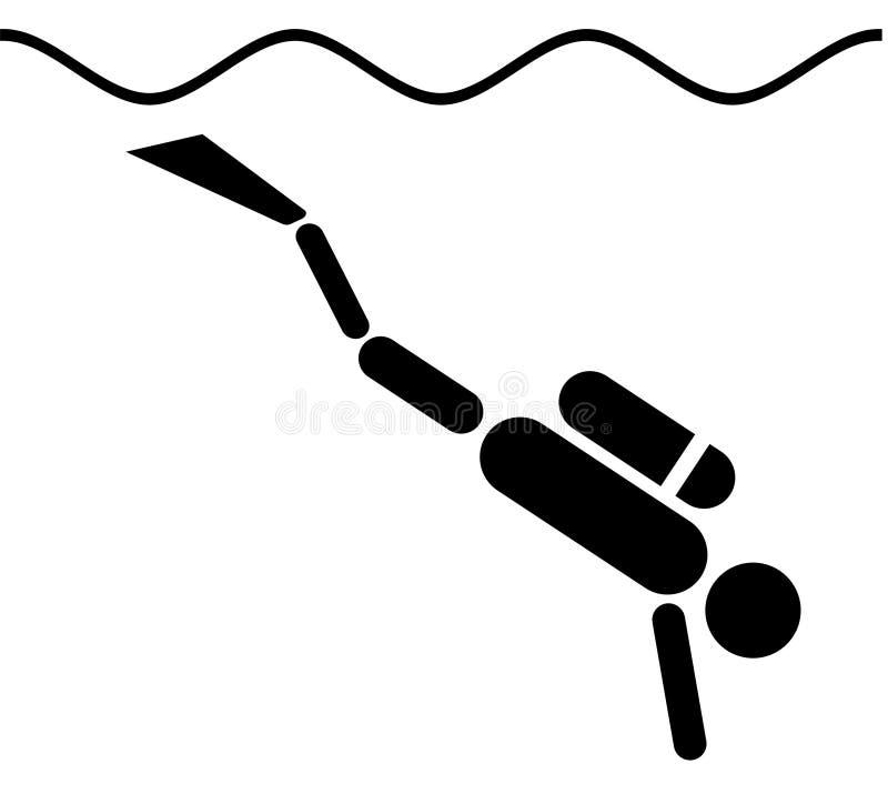 有backmount下降的标志的轻潜水员 库存图片