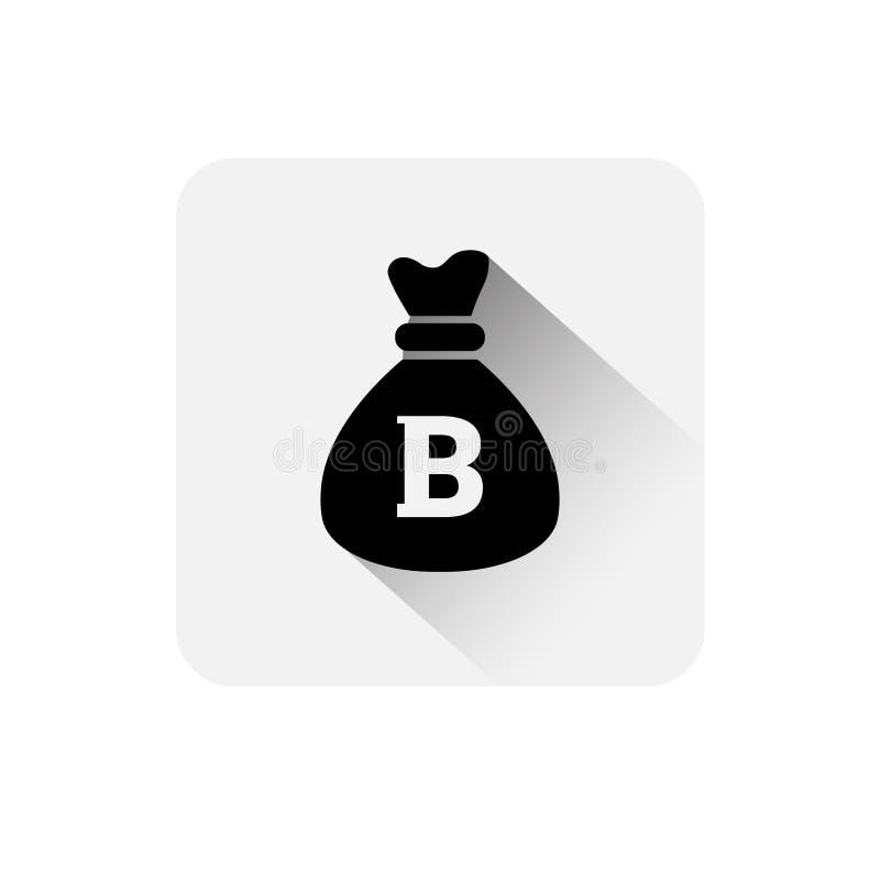 有Bitcoin标志象数字式网隐藏货币商标概念的金钱大袋 库存例证