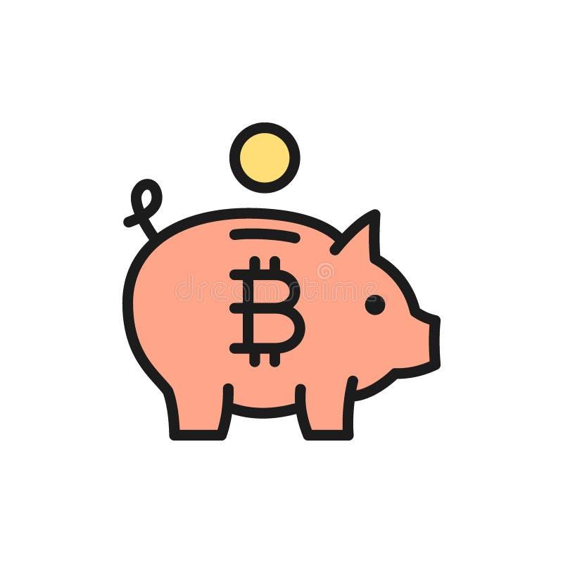有bitcoin的,cryptocurrency,隐藏硬币平的颜色象存钱罐 向量例证