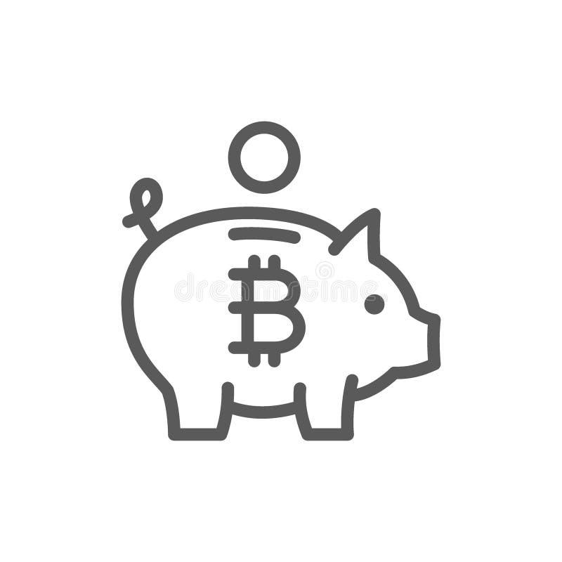 有bitcoin的,cryptocurrency,隐藏硬币线象存钱罐 库存例证