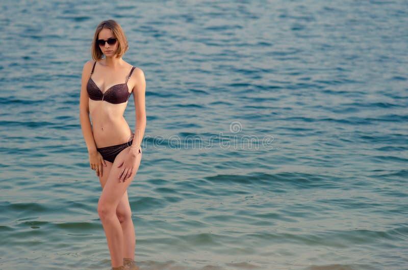 有braun泳装的美丽的白种人高少妇在Th 库存图片