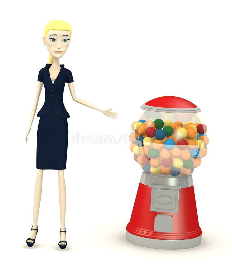 有bubblegum机器的动画片女实业家 库存例证