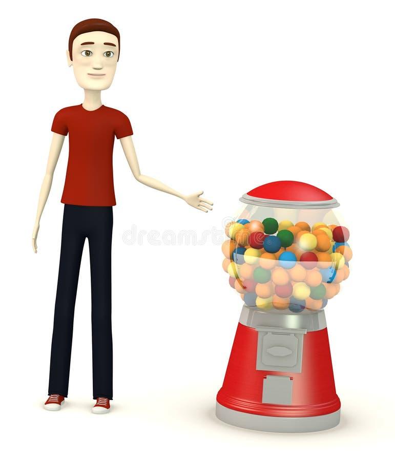 有bubblegum机器的动画片男孩 向量例证