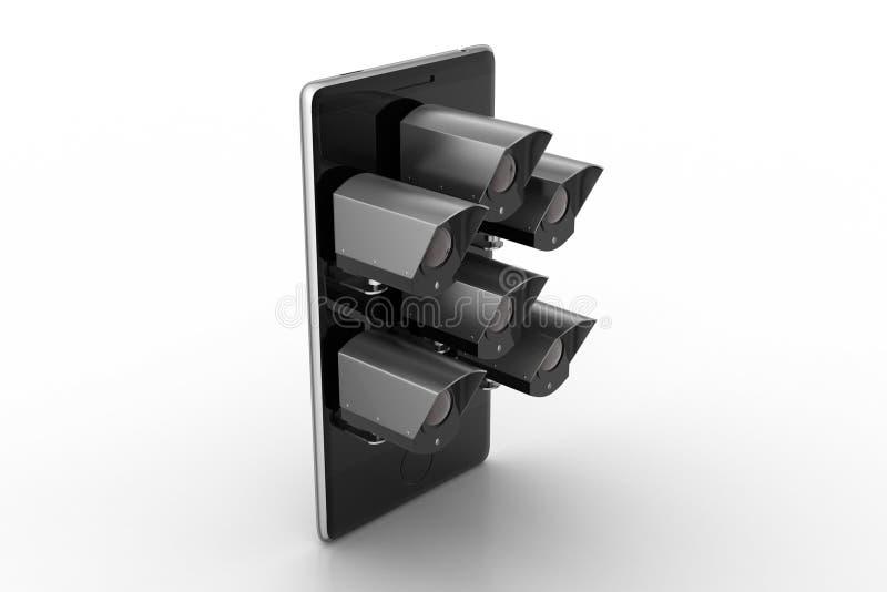有CCTV照相机的手机 皇族释放例证