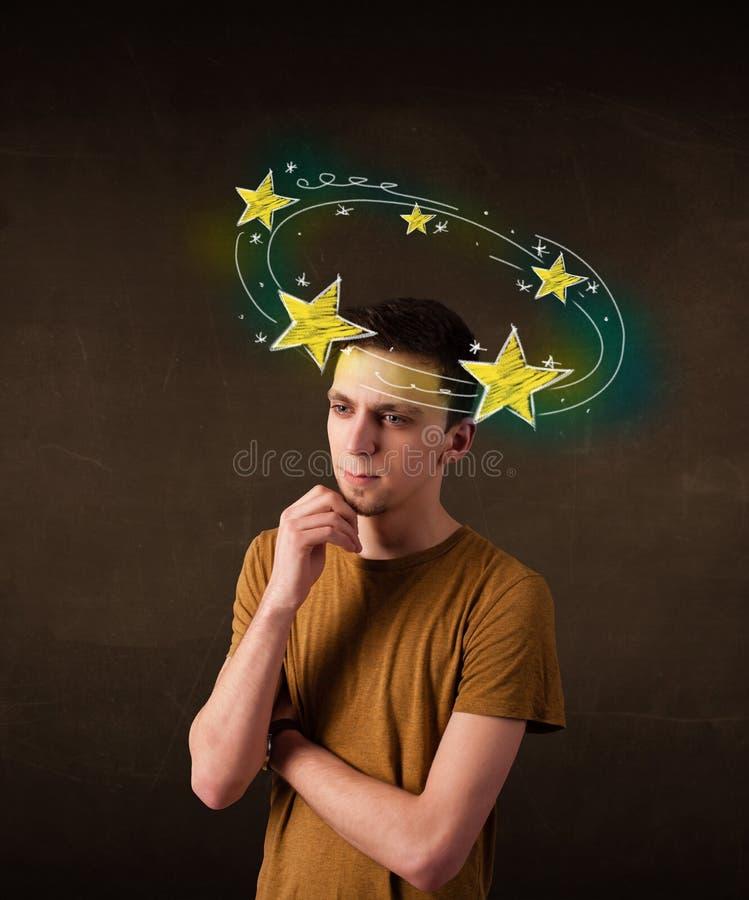 有circleing在他的头附近的黄色星的年轻人 库存例证
