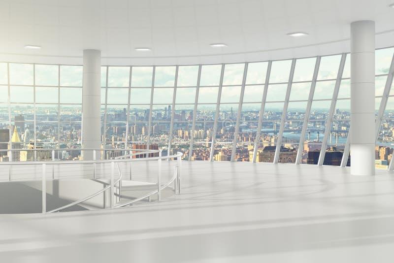 有cityview和台阶的空的轻的办公室 皇族释放例证