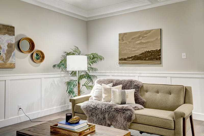 有coffered cealing的可爱的工匠样式客厅 库存照片