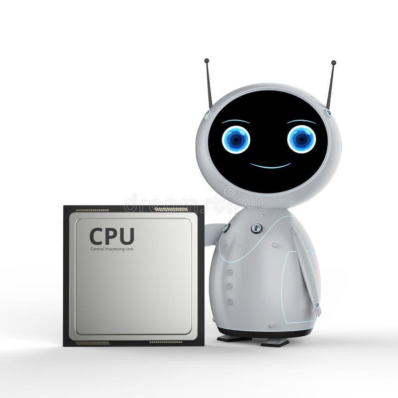 有cpu芯片的机器人 库存例证