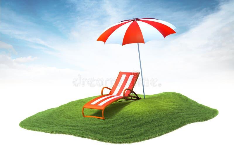 有deckchair的海岛和漂浮在sk的天空中的阳伞 库存图片
