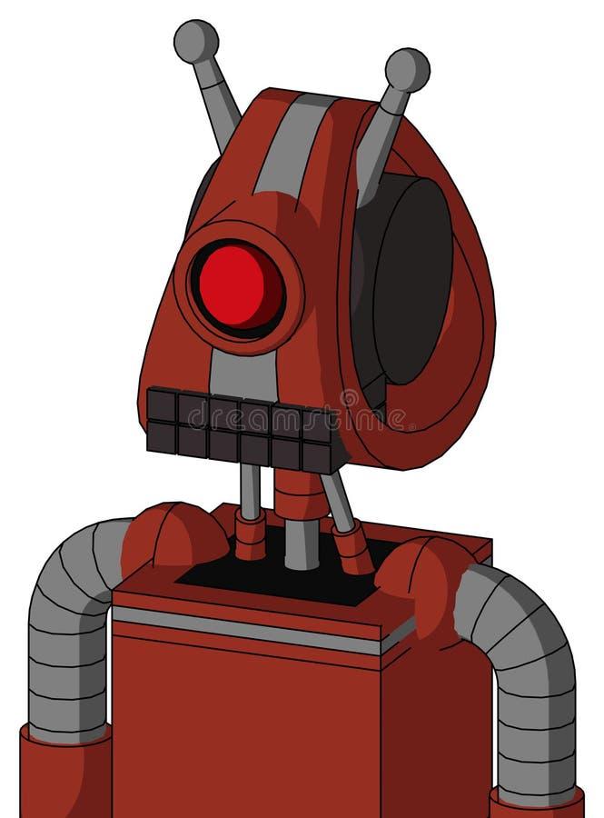 有Droid头和键盘嘴的红色自动机和独眼巨人注视和双重天线 库存例证