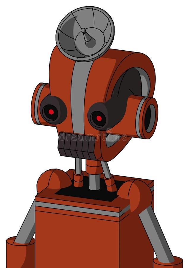 有Droid头和黑暗的牙嘴和黑发光的红色眼睛和雷达盘帽子的橙色机器人 库存例证