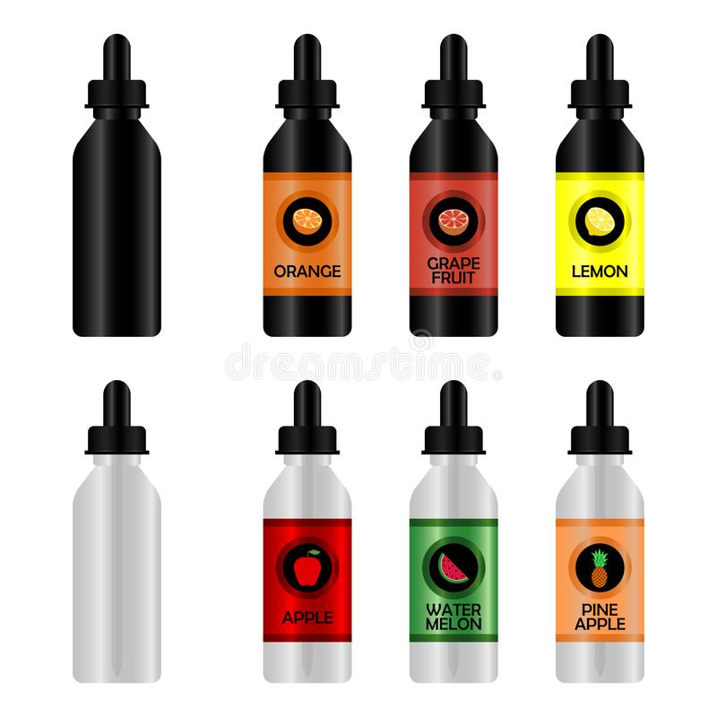 有E液体的瓶Vape的 套与口味的现实瓶大模型用不同的味道的一根电子香烟的 向量例证