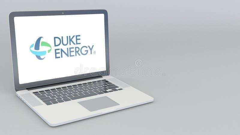 有Energy公爵商标的打开的和关闭的膝上型计算机 4K社论3D翻译 皇族释放例证