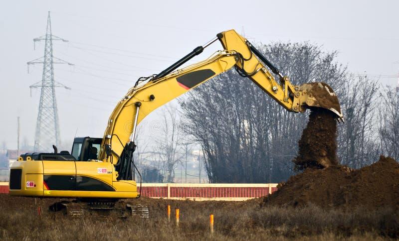 有escavator的建造场所 库存照片
