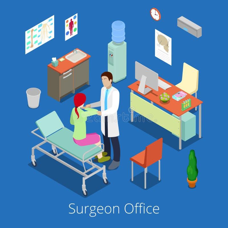 有Examinating Patient医生的等量外科医生办公室 库存例证
