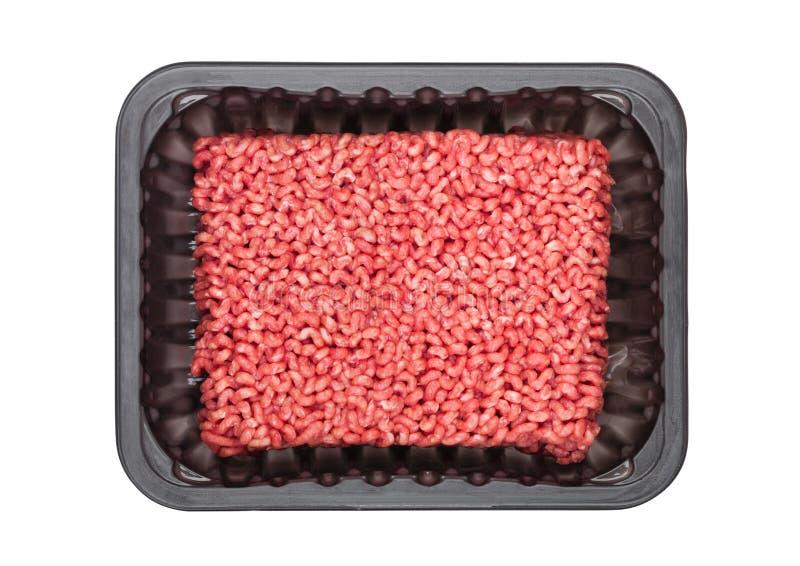 有frew未加工的牛肉猪肉羊羔的塑料盘子剁碎 免版税库存照片