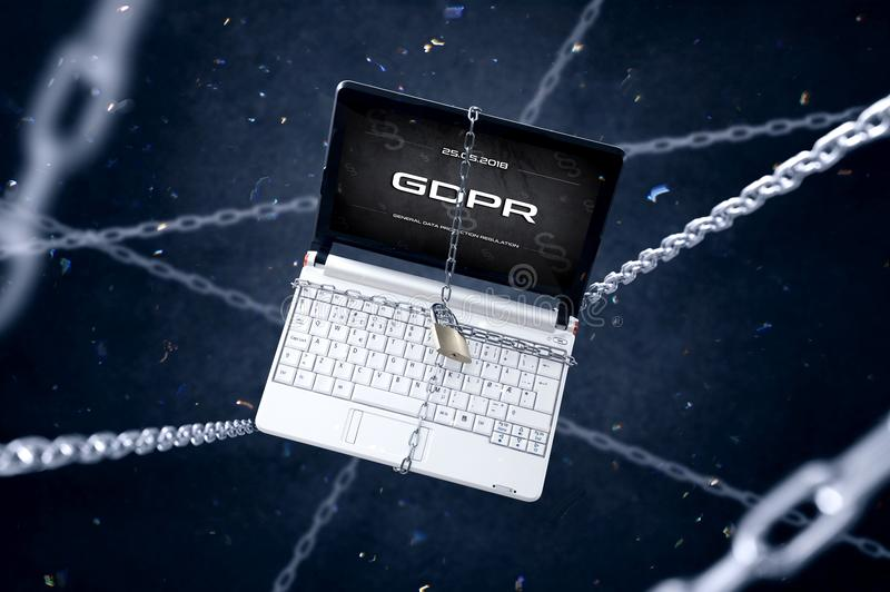 有GDPR标志的被束缚的膝上型计算机 库存例证