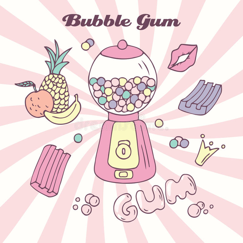 有gumballs、bubblegum和手写的标志的手拉的泡泡糖机器 背景糖果颜色您设计的例证 库存例证
