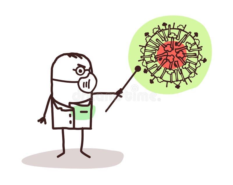 有H1N1病毒的动画片医生 库存例证
