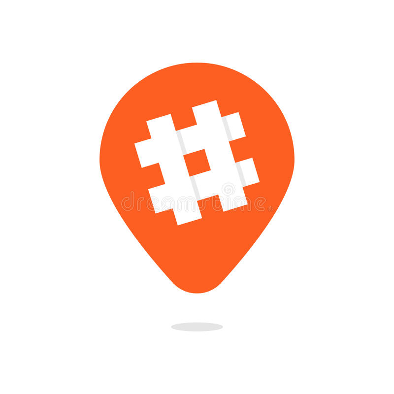 有hashtag象的橙色别针 库存例证
