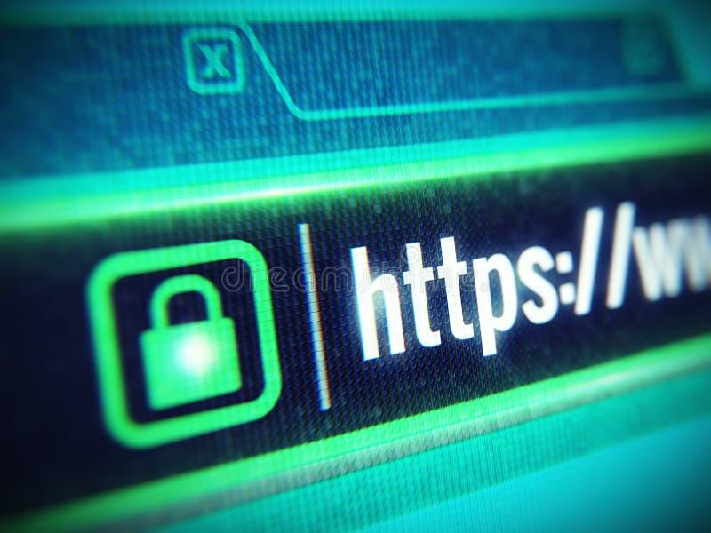 有Https串和挂锁象的宏观lcd屏幕 安全套接字层, SSL安全概念 皇族释放例证