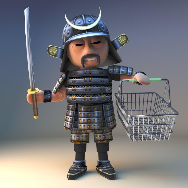 有katana剑的高尚的日本武士战士去购物与他的篮子,3d例证 向量例证