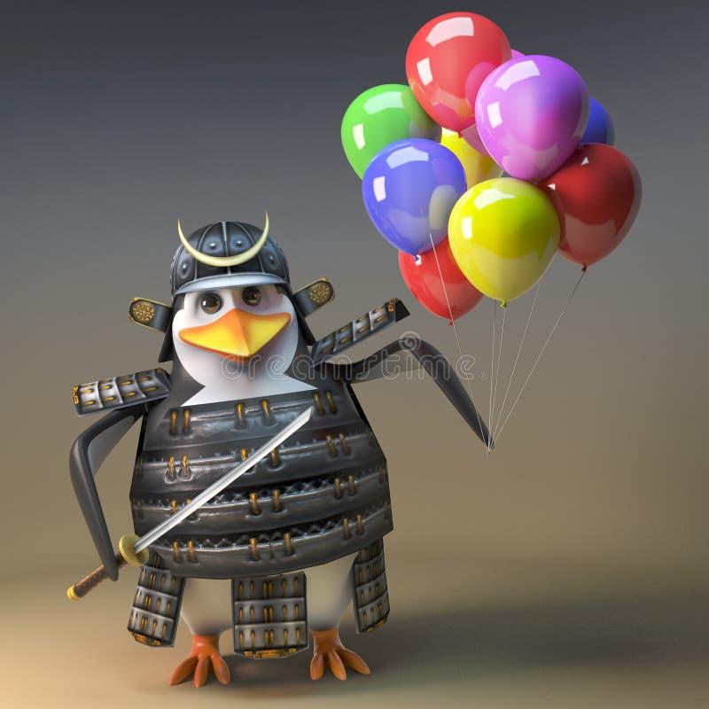 有katana和党气球的,3d高尚的日本企鹅武士战士例证 皇族释放例证