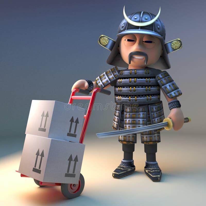 有katana的高尚的日本武士战士交付有他的手台车的,3d纸板箱例证 库存例证