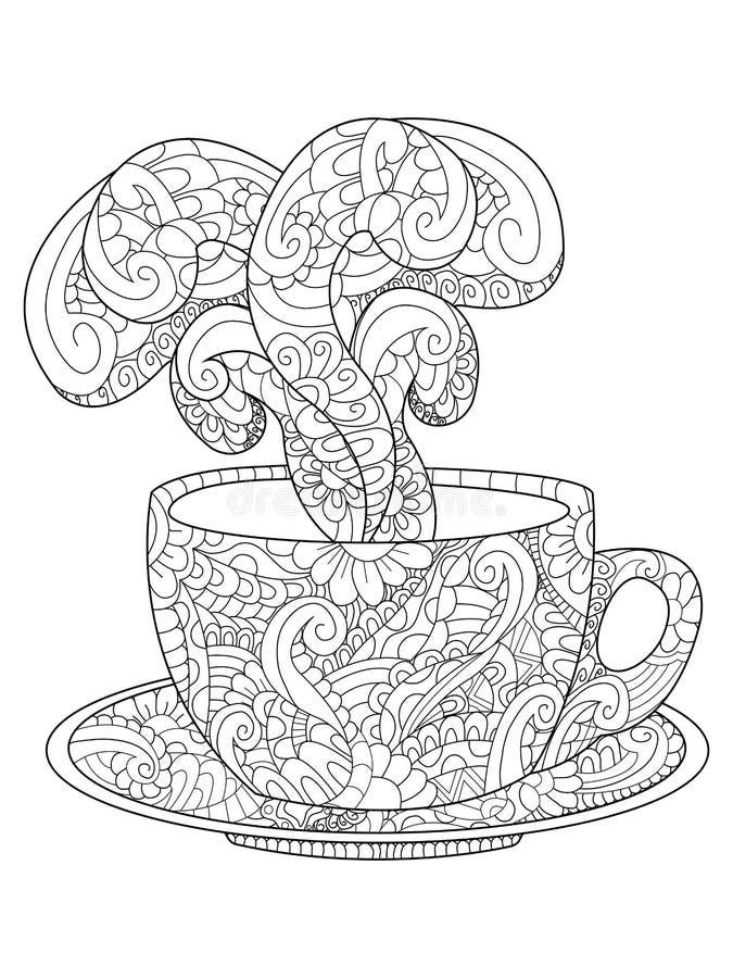 有kofem的杯,茶和蒸汽导航例证 库存例证