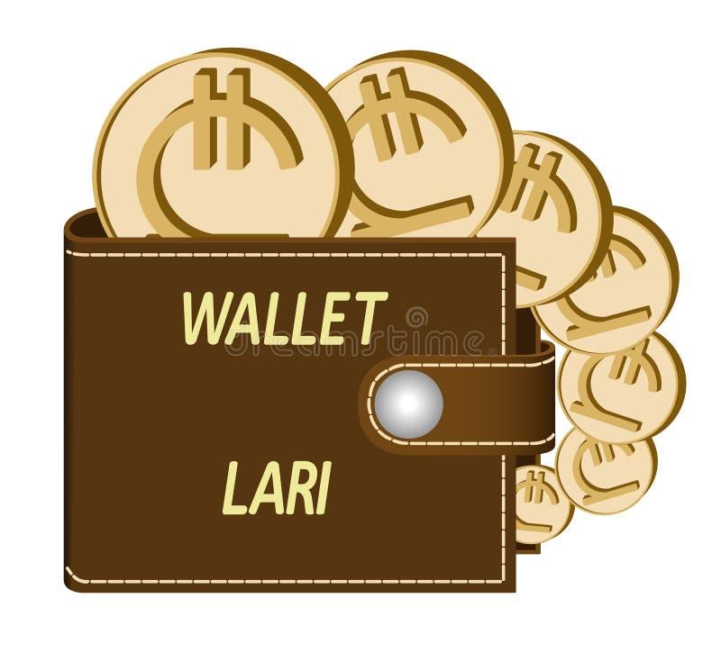 有lari硬币的布朗钱包 图库摄影