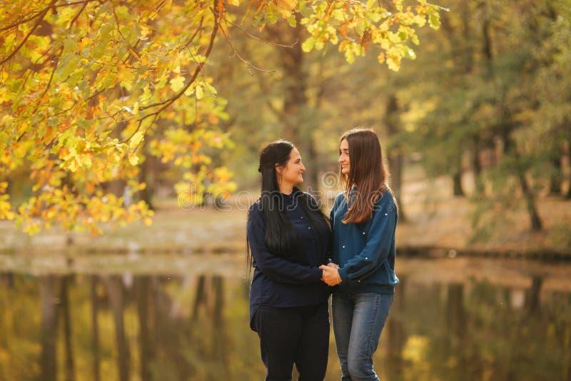 有ldedt女儿立场的母亲在湖前面在公园 在秋天时间的黄色树 库存图片