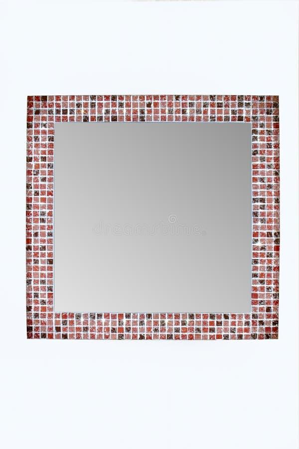 有LED光的方形的镜子 库存照片
