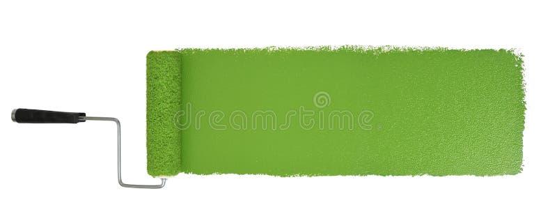 有Logn绿色冲程的漆滚筒 免版税库存图片