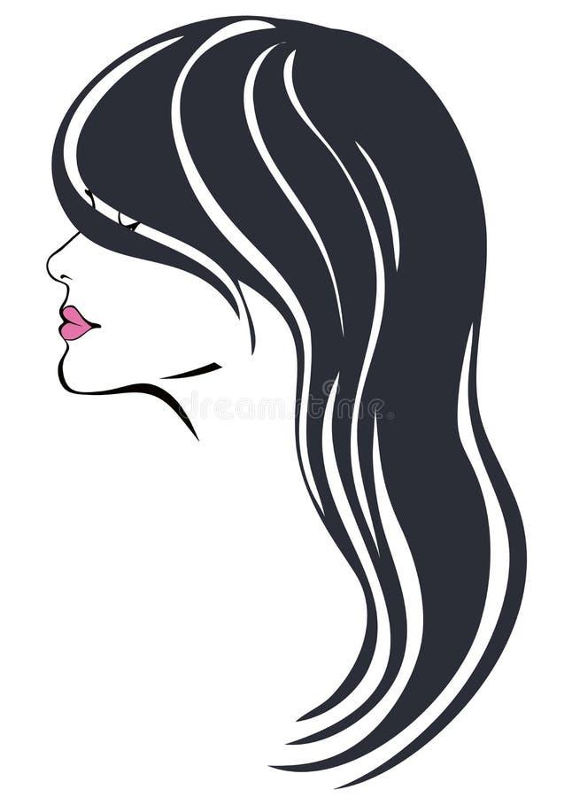 有lond黑发传染媒介的妇女 向量例证