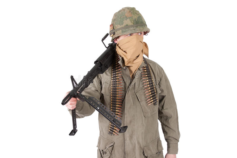有m60机枪越南战争期间的美国军队战士 免版税库存图片