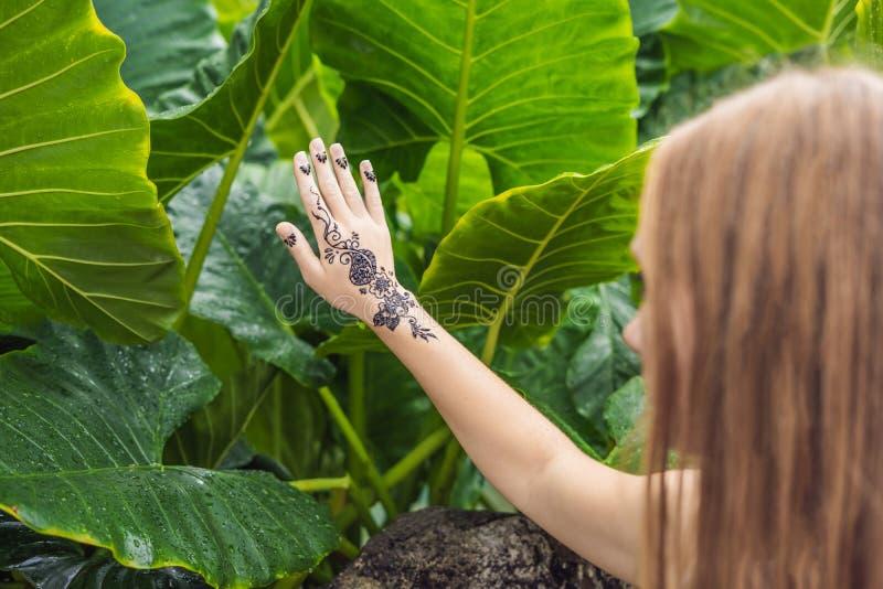 有mahendi的妇女 用无刺指甲花纹身花刺装饰的手 mehendi ha 库存图片