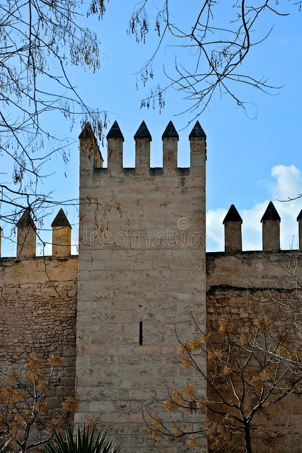有merlons的中世纪墙壁和与黄色叶子的一棵树 免版税库存照片