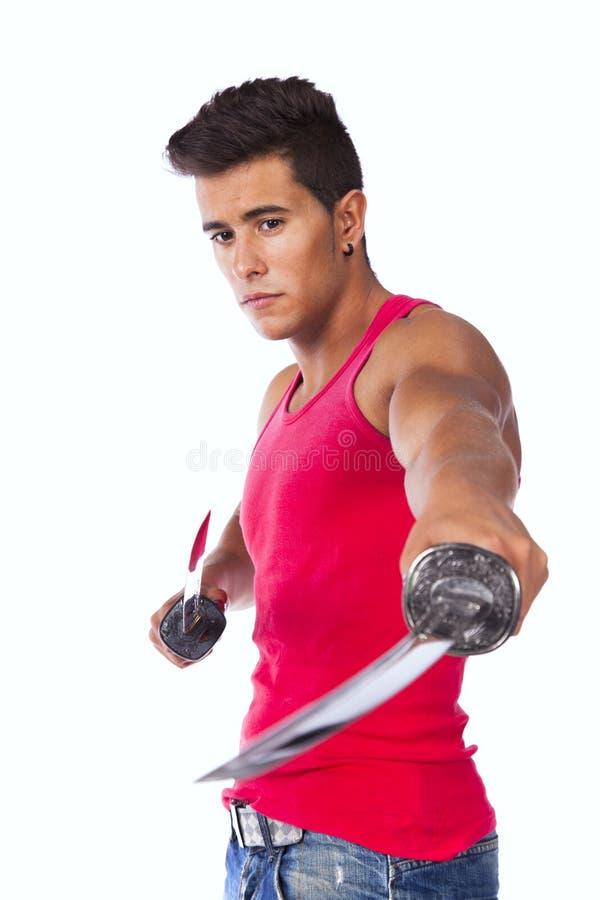 有ninja剑的战士 图库摄影