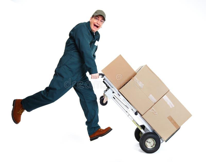 有pacages的送货人 免版税库存照片
