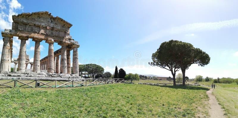 有paestum的古希腊寺庙 免版税库存图片