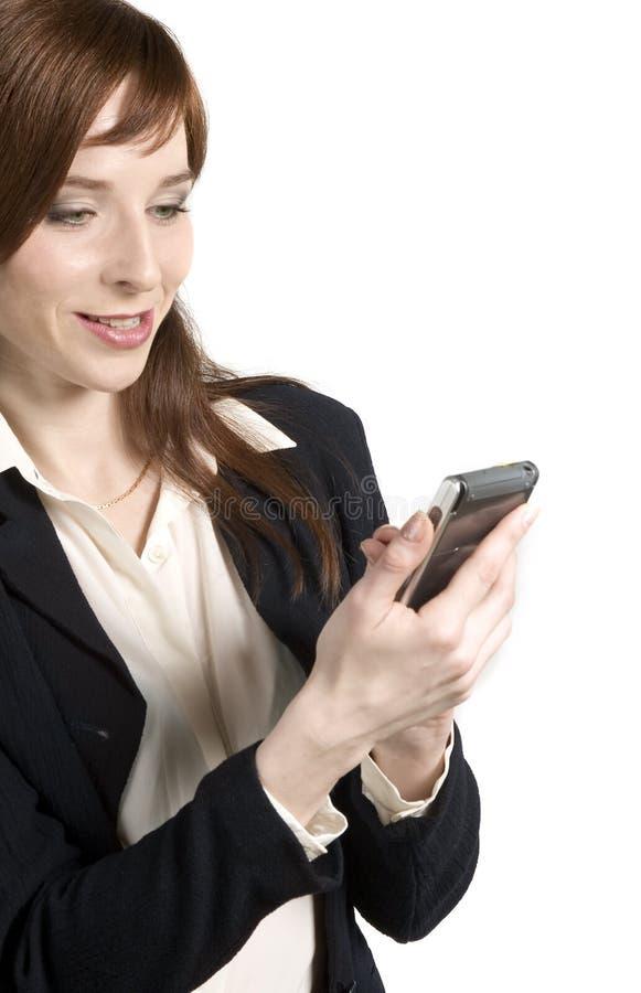 有PDA的企业女孩 库存图片