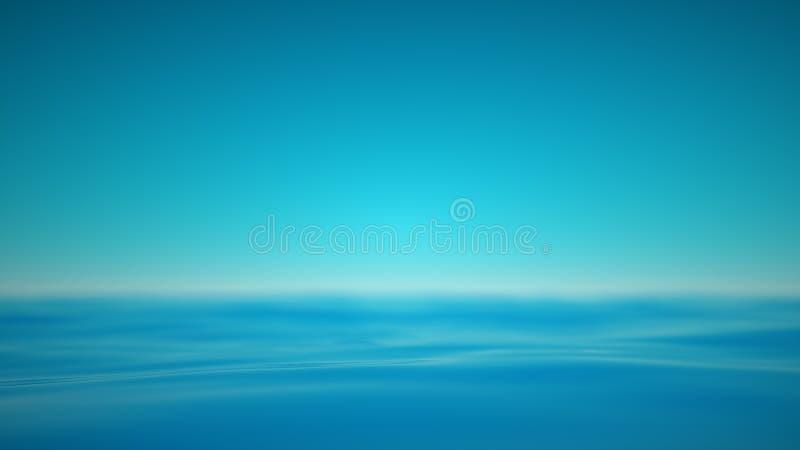 有realxing的镇静波浪朦胧的蓝色海 库存例证