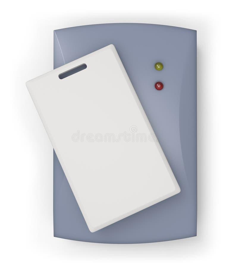 有RFID卡片的RFID读者 皇族释放例证