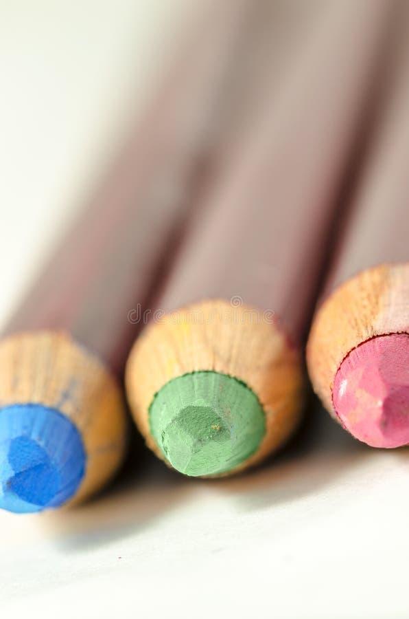 有RGB细微差异的色的铅笔 库存图片