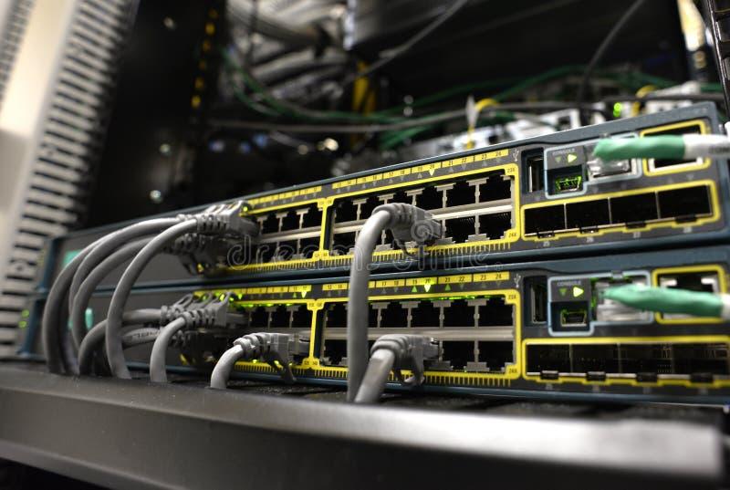 有RJ45口岸的网络设备 免版税库存照片