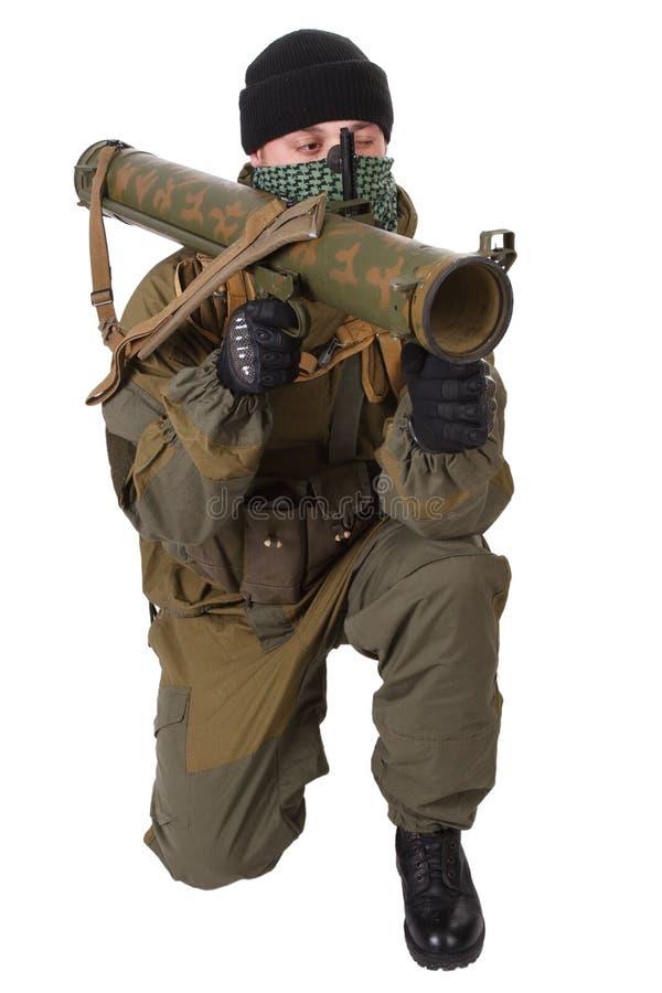 有RPG火箭发射器的叛乱者 库存图片