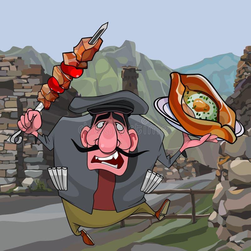 有shashlik的动画片人和khachapuri在高加索 皇族释放例证