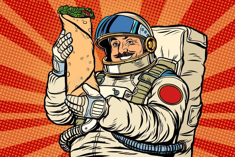 有Shawarma kebab的Doner长着大髭须的宇航员 皇族释放例证