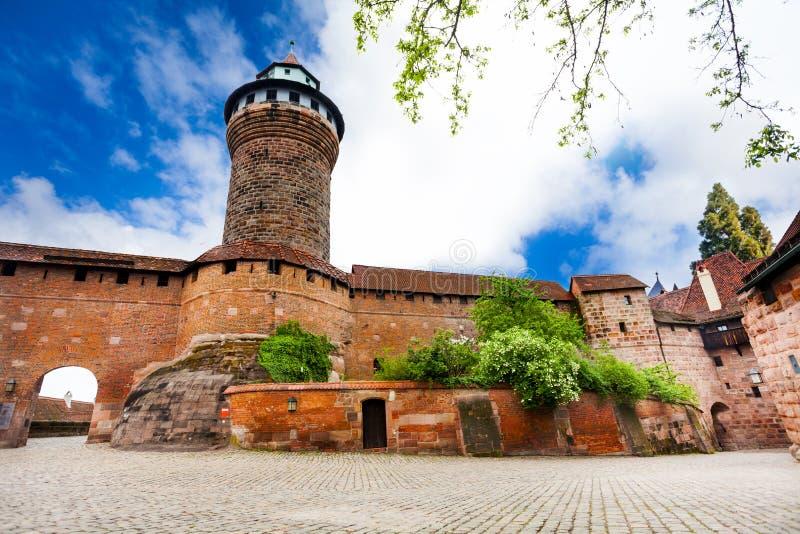 有Sinwellturm的Kaiserburg墙壁在纽伦堡 免版税库存图片