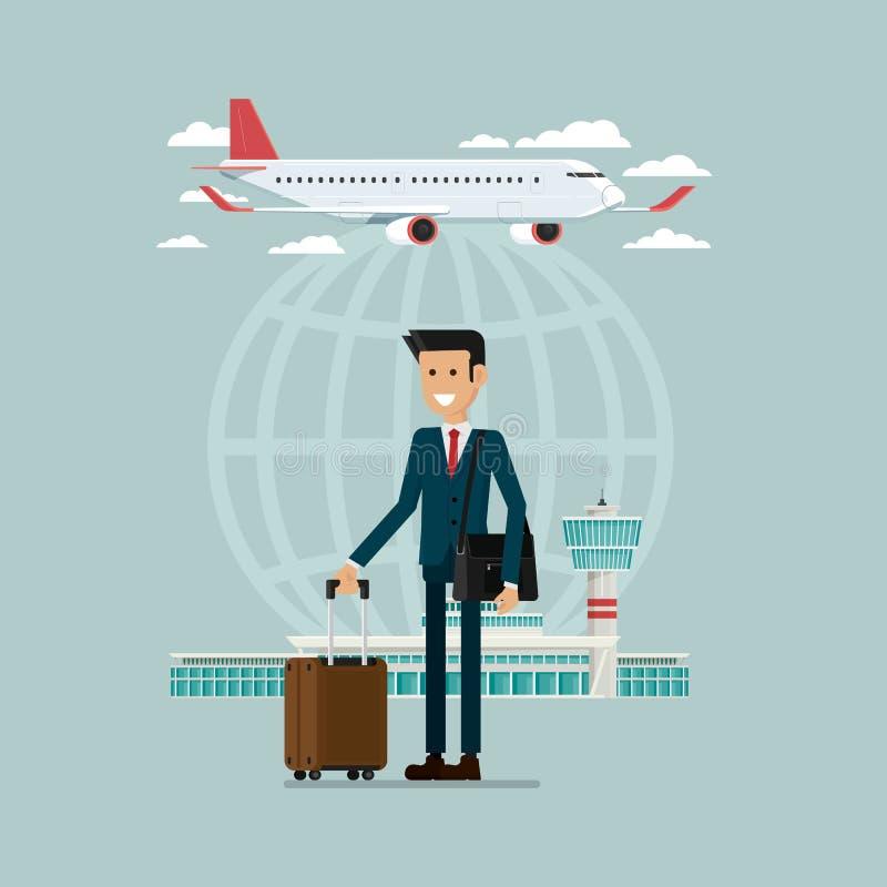 有suitcas的平面离开旅行天空和商人人民 库存例证